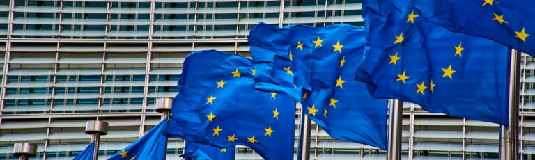 Klassenfahrt Brüssel EU-Flaggen