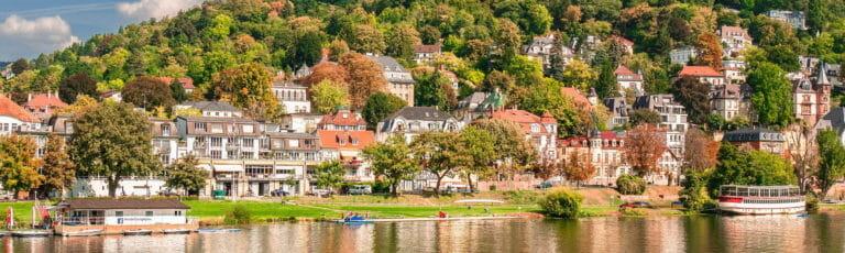 Klassenfahrt Heidelberg Blick vom Neckar