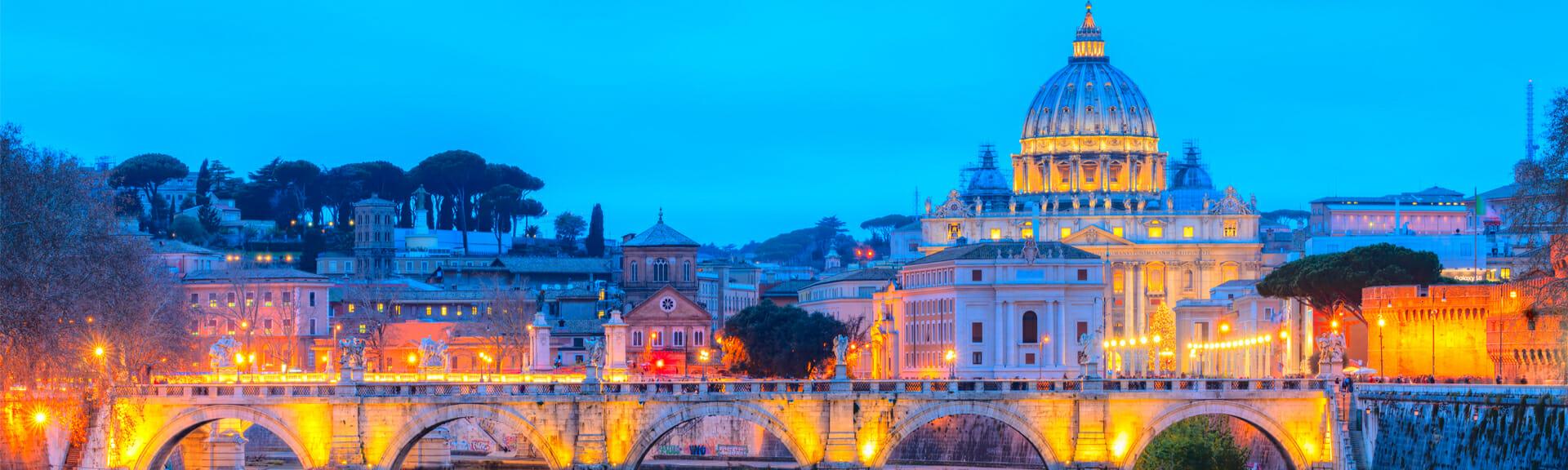 Klassenfahrt Rom Petersdom bei Nacht