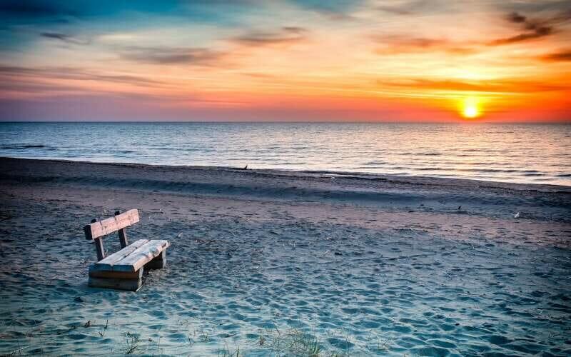 Riga Strand beim Sonnenuntergang